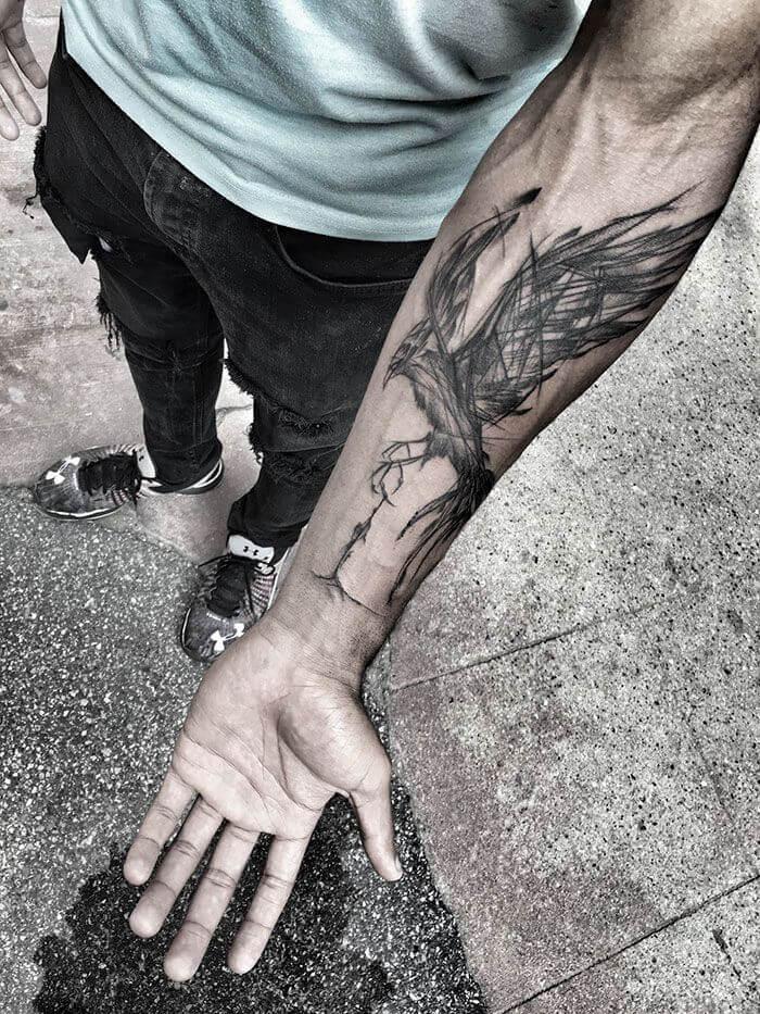 Tatouage Phoenix avant bras homme