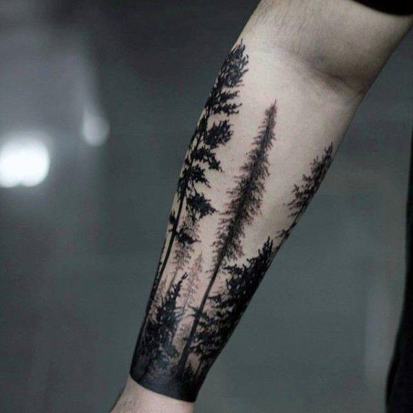 Tatouage arbres avant bras homme
