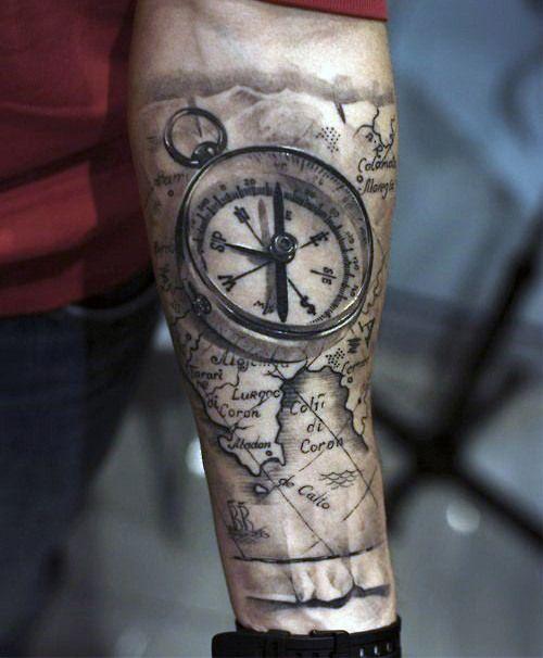 tatouage Boussole avant bras homme