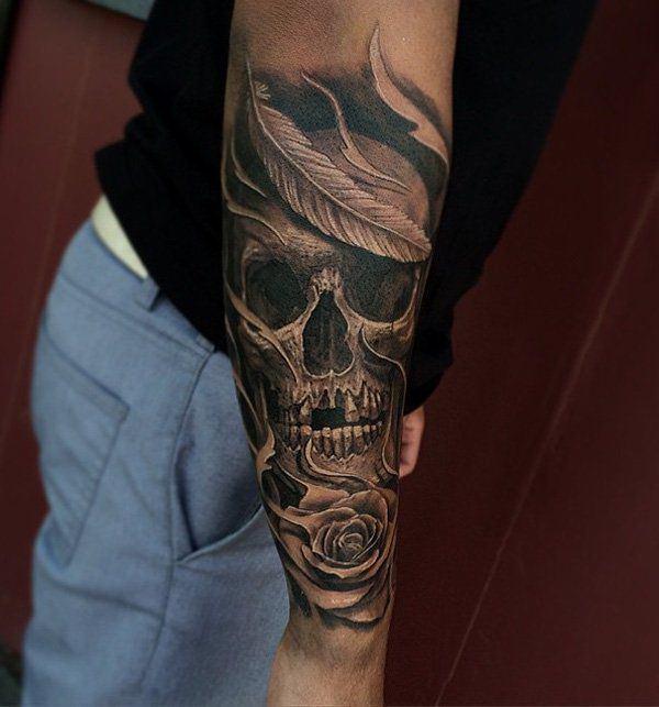 tatouage Tête de mort avant bras homme