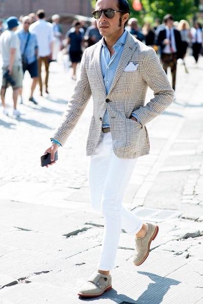 porter pantalon blanc homme